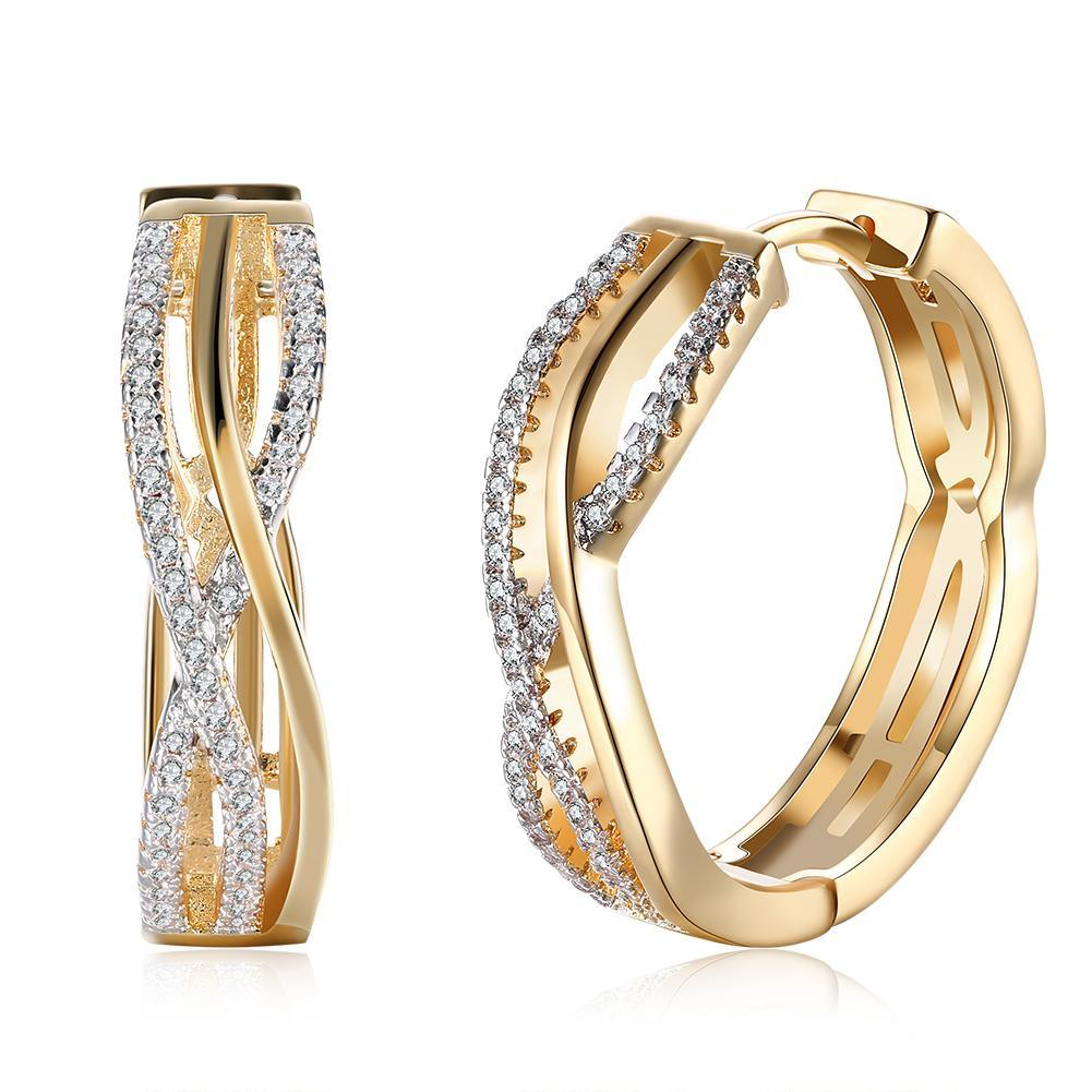 18K Gold Plated Criss Cross Pav'e Earrings