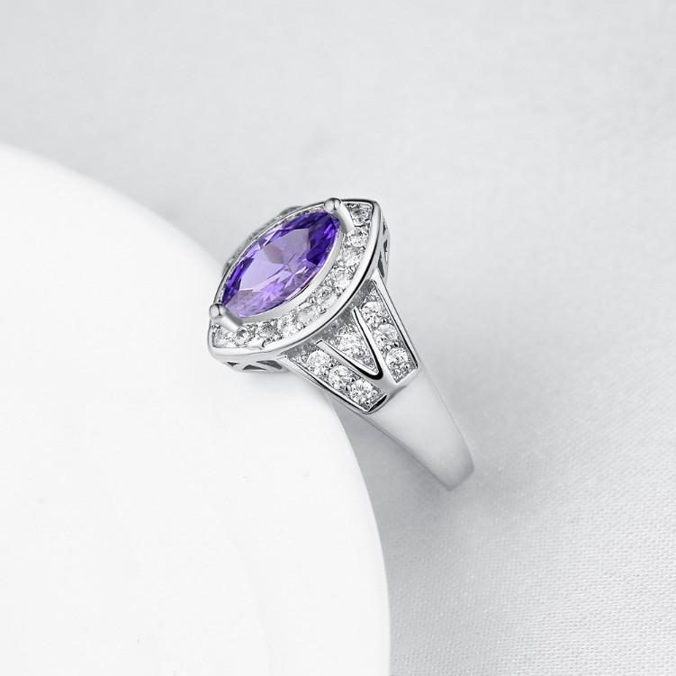 Tanzanite Diamond Cut White Gold Ring