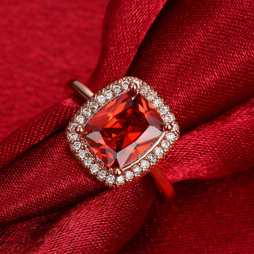 Ruby Emerald Cut 18K Rose Gold Halo Ring