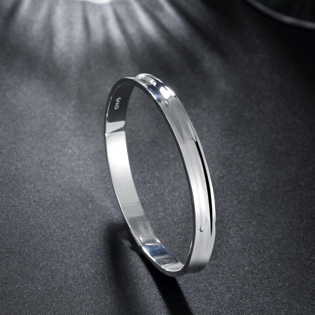 "Classic 7"" Slip on Bangle in 18K White Gold Plated"