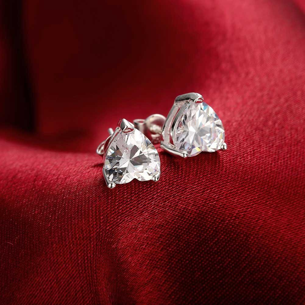 Heart Stud Earrings Made with Swarovski Elements