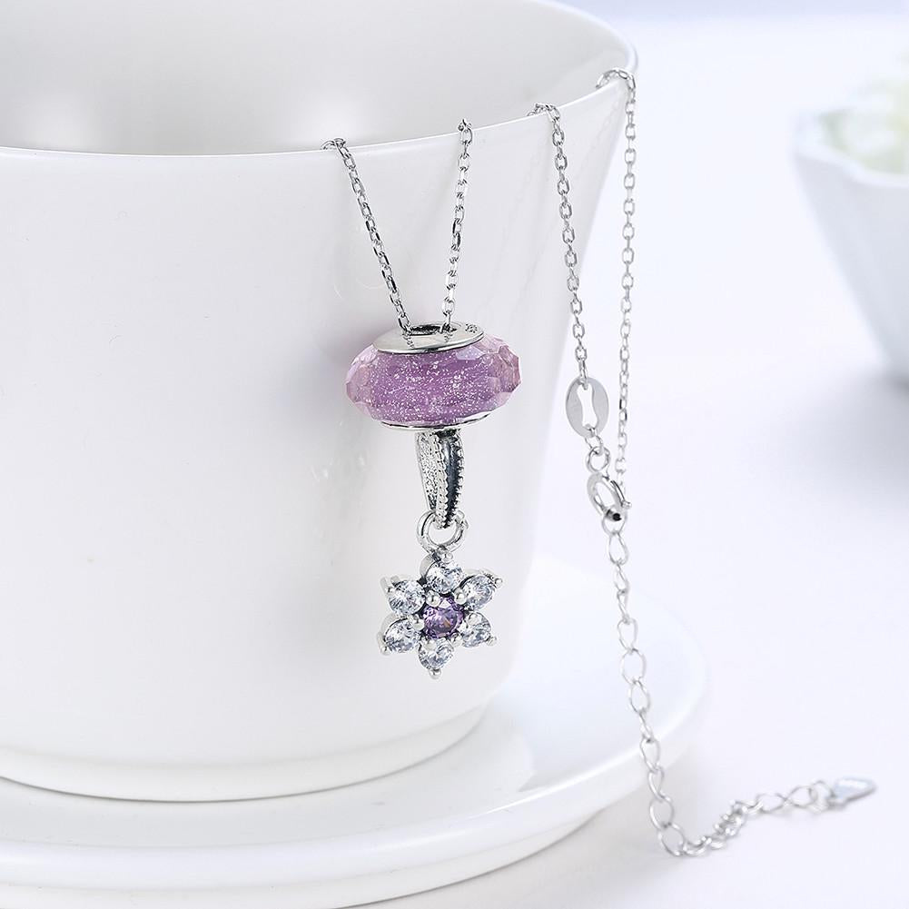 Sterling Silver 2 Piece Necklace- Pink Snowflake