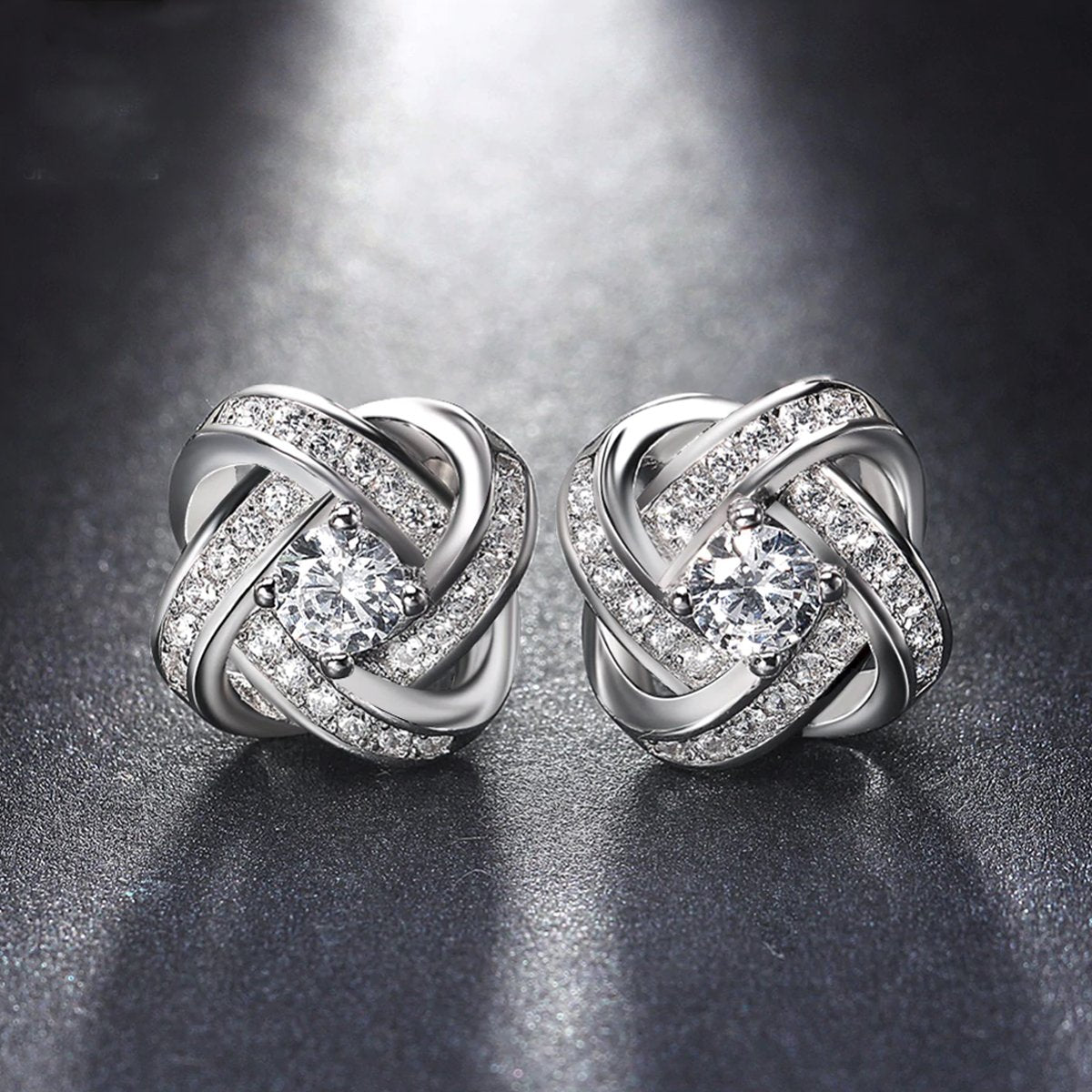 18K White Gold Plated Infinity Twist Stud Earring