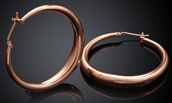 Italian-Made Gold Plated French Lock Hoop Earrings