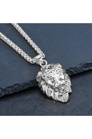 18K White Gold Filled Lion KING Pendant Necklace