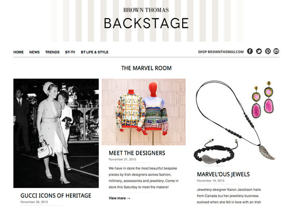 Brown Thomas blog backstage announces Karon Jacobson special event Meet the Designers