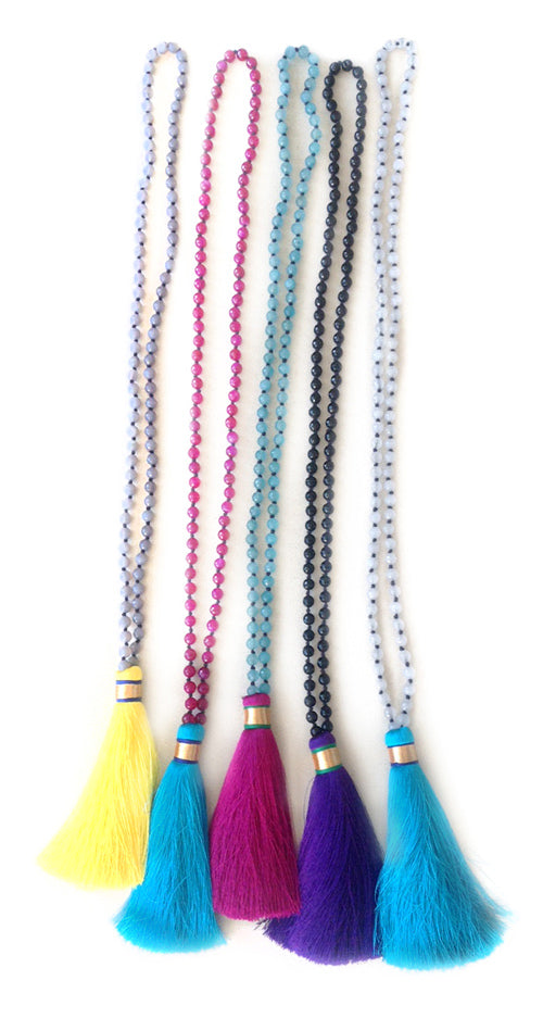 Karon Jacobson Jewellery Mala Collection - tassel and gemstone necklaces