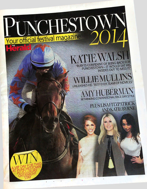 Karon Jacobson Jewellery on front cover of the Punchestown Race Festival 2014 magazine