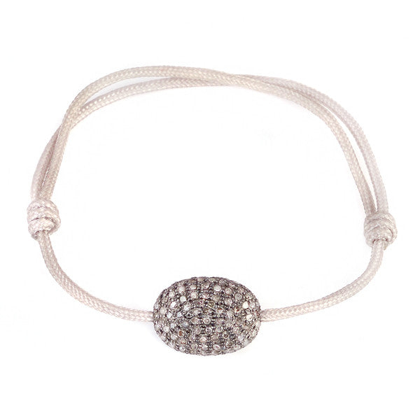 Pave Diamond on Grey Cord Bracelet