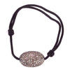 Large Diamond Oval Pendant on Black Cord Bracelet - Karon Jacobson Jewellery