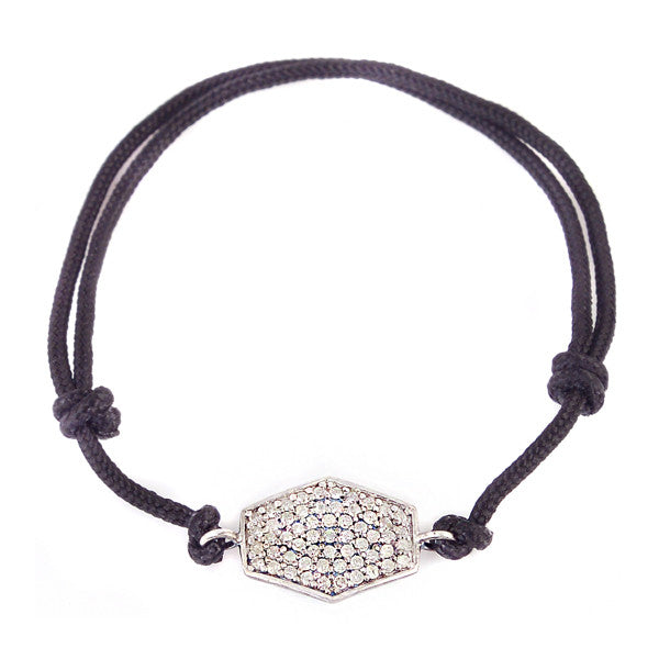 Diamond Hexagon Pendant on Black Cord Bracelet