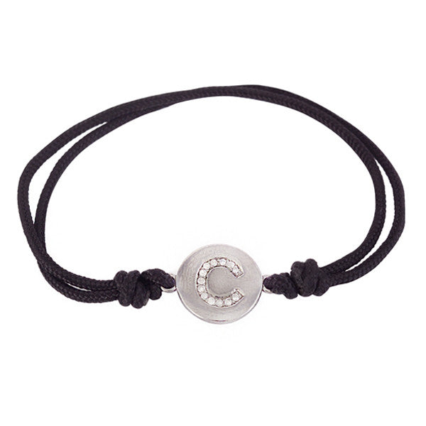 Diamond Initial Charm and Black Cord Bracelet