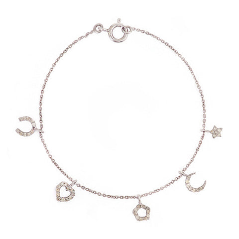 Five Diamond Charm and Sterling Silver Bracelet