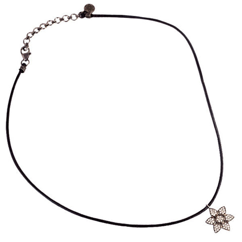 Diamond Lotus Flower & Leather Necklace