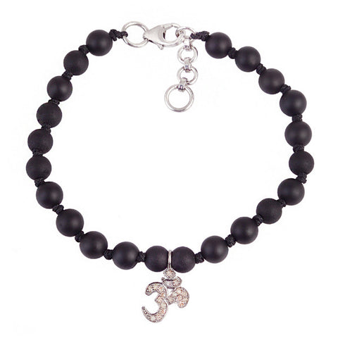 Diamond Om and Onyx Bead Bracelet