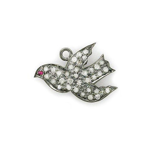 Diamond & Ruby Love Dove Pendant