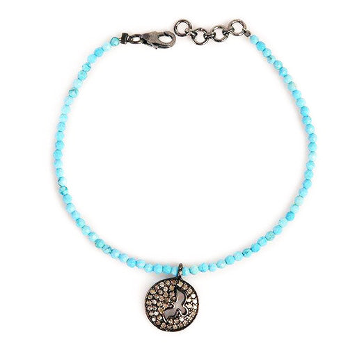 Diamond Dove & Turquoise Bead Bracelet - Karon Jacobson Jewellery