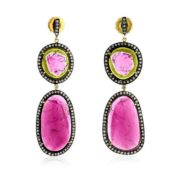 Diamond & Tourmaline Earrings by Karon Jacobson