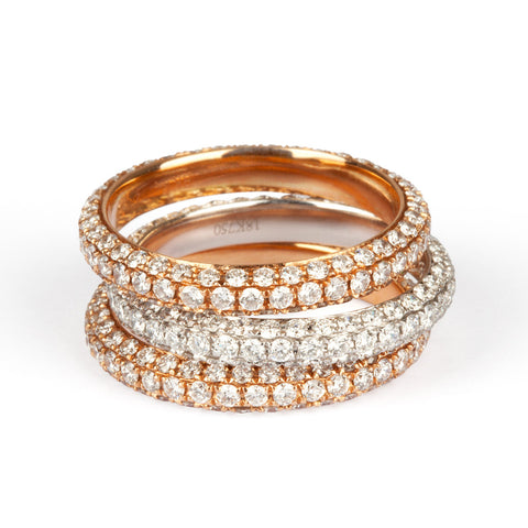 18ct Pink, Yellow & White Gold All Diamond Ring