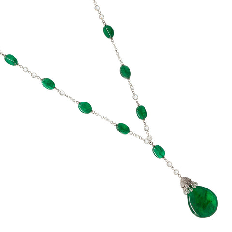 18ct White Gold, Emerald Stones & Diamond Necklace
