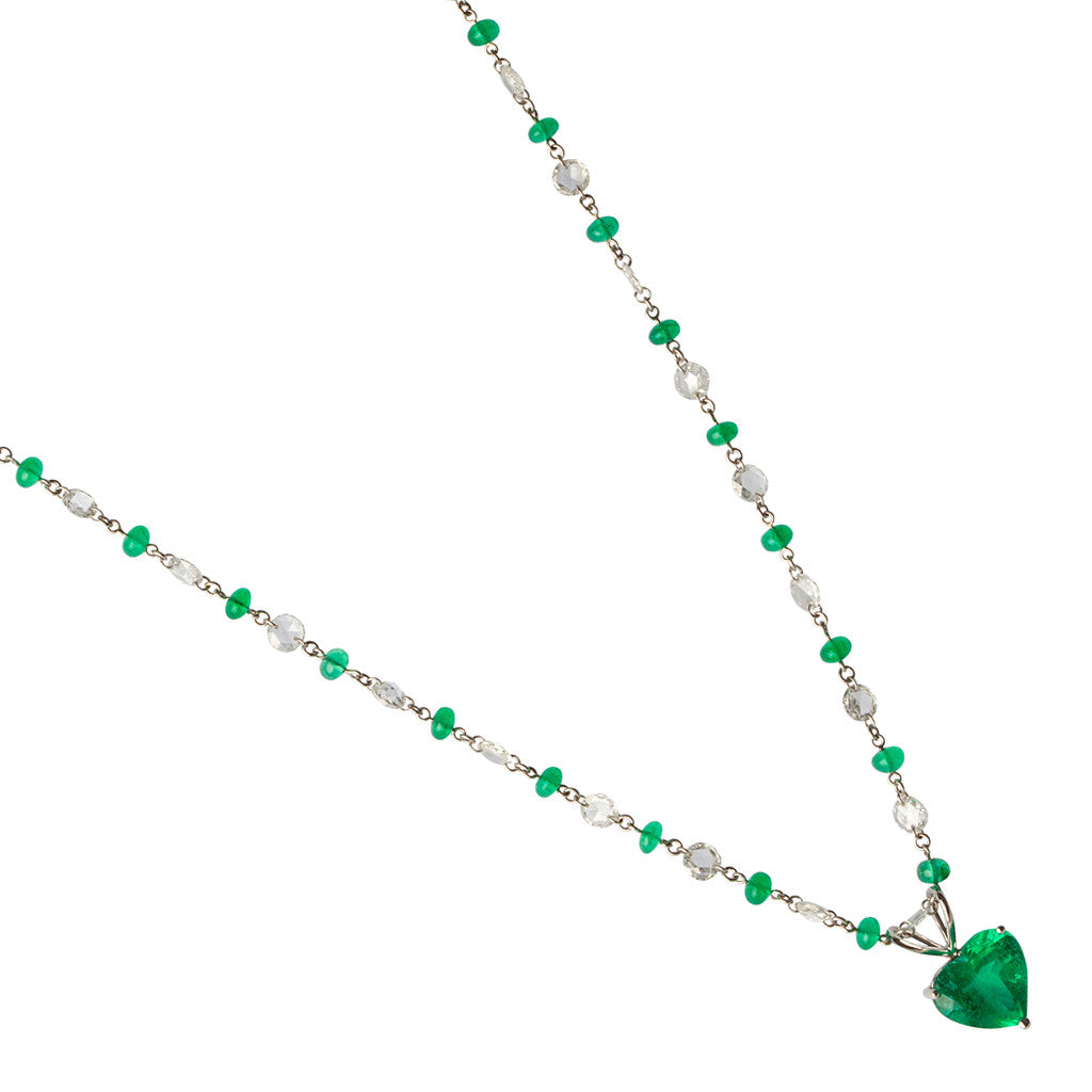 Karon Jacobson Emerald Heart Pendant and Diamond Necklace - Designer Jewellery - 1