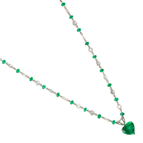 Emerald Heart Pendant & Diamond Necklace