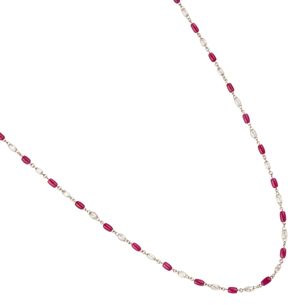 Karon Jacobson White Gold, Ruby and Diamond Chain Necklace - Designer Jewellery - 1