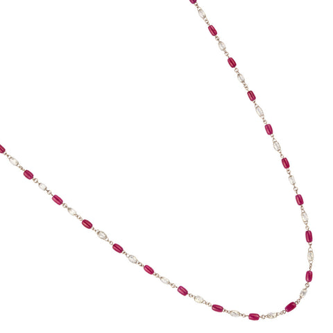 White Gold, Ruby & Diamond Chain Necklace