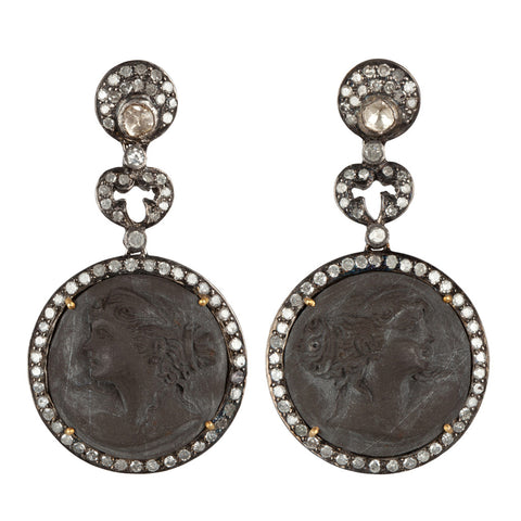 White Gold & Black Lava Diamond Earrings