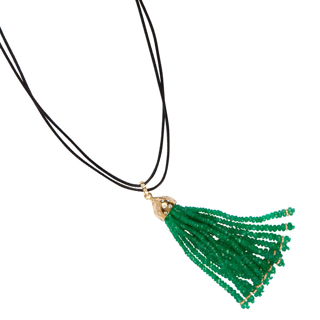 18ct Karon Jacobson Gold & Diamond Tassel Pendant with Emerald Beads - Designer Jewellery - 2