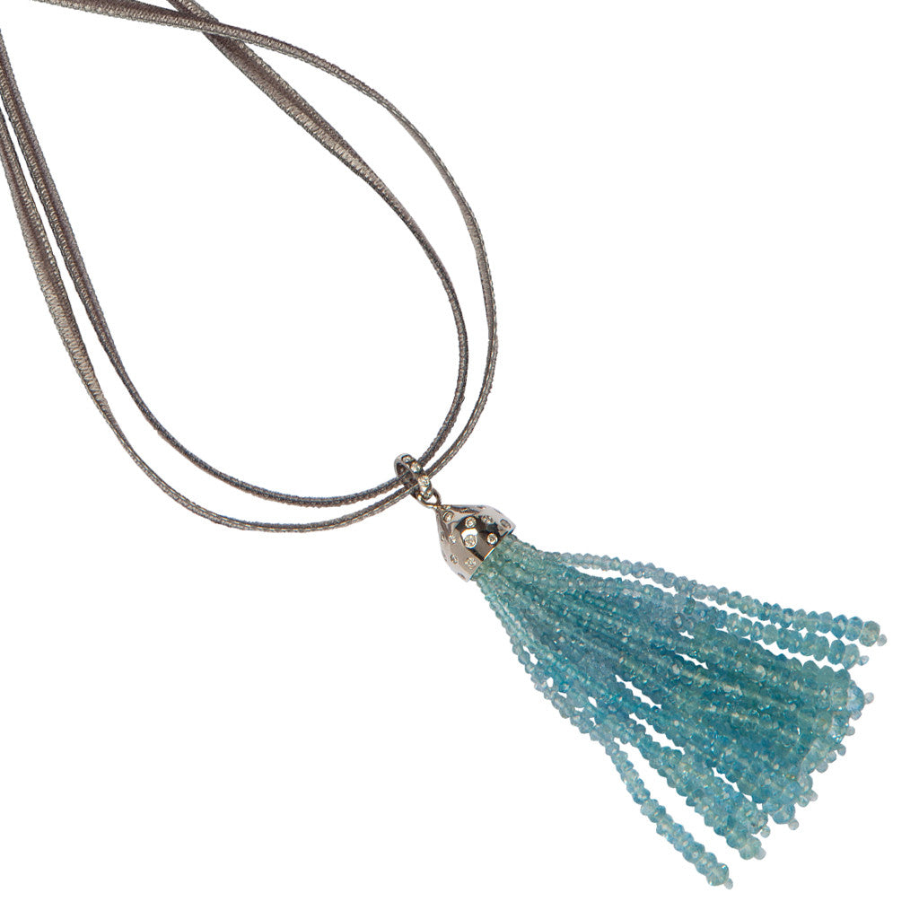Karon Jacobson 18ct White Gold & Diamond Tassel Pendant with Aquamarine Beads - 3