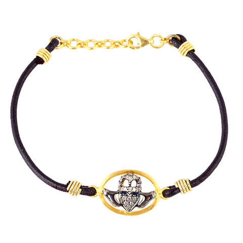 Diamond & Gold Claddagh Leather Bracelet