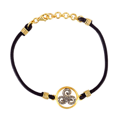 Triple Spiral Diamond & 18kt Gold Leather Bracelet