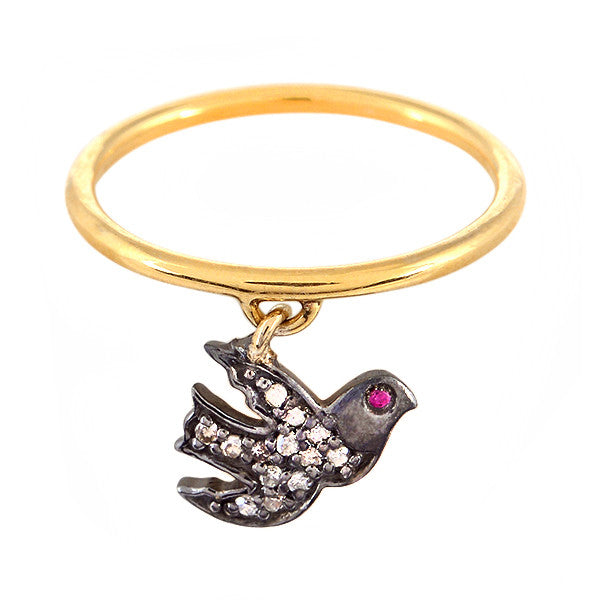 Peace Dove Charm Ring