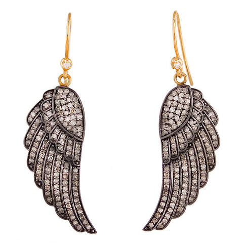 Diamond & Gold Feather Earrings