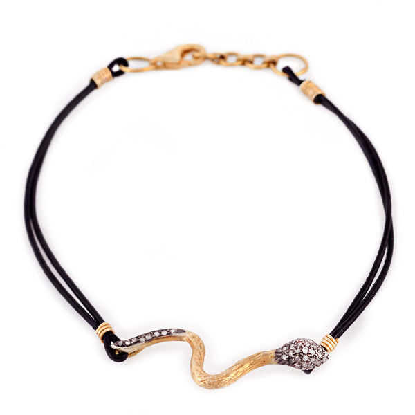 Diamond & Gold Snake on Black Leather Bracelet