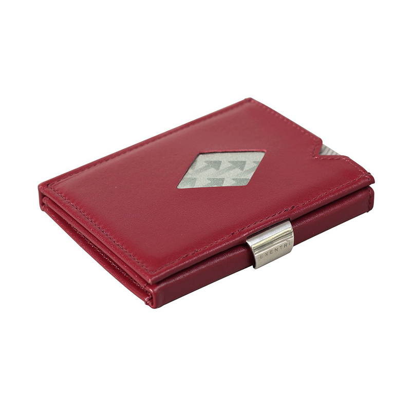 Exentri Classic Leather Wallet - Red - Laid