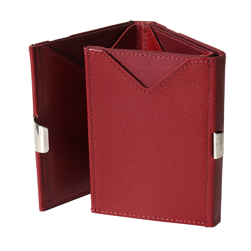 Exentri Classic Leather Wallet - Red - Fold