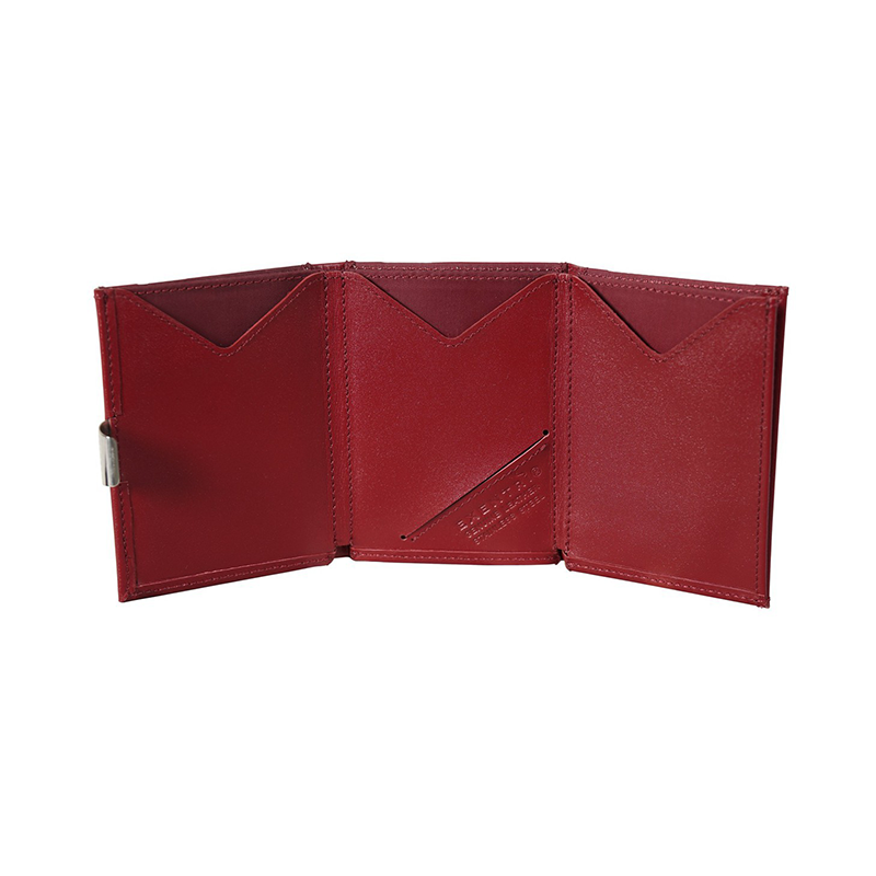 Exentri Classic Leather Wallet - Red- Unfold