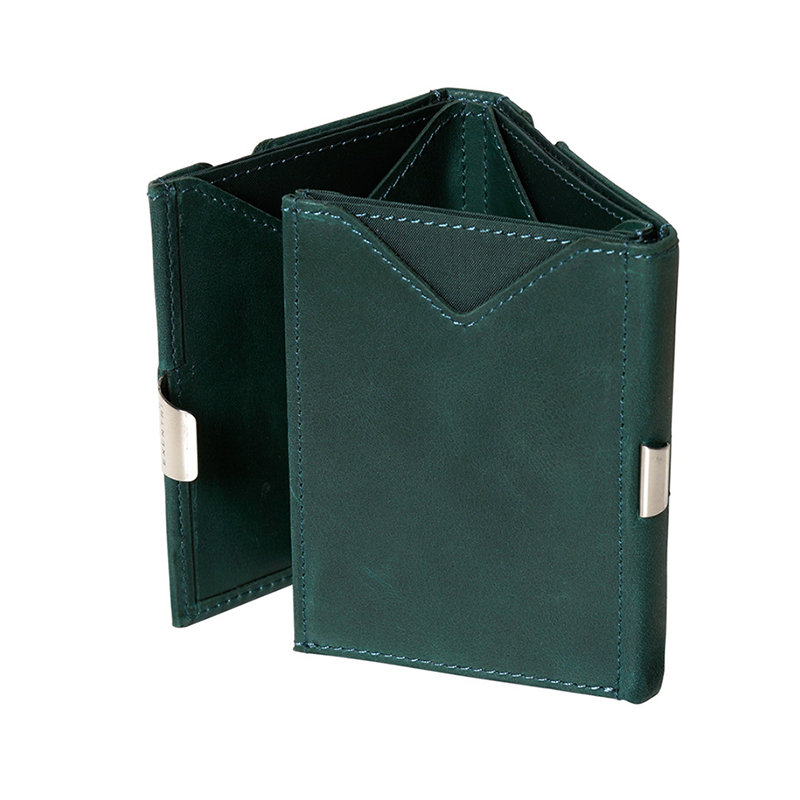 Exentri Leather Wallet - Emerald Green - Fold