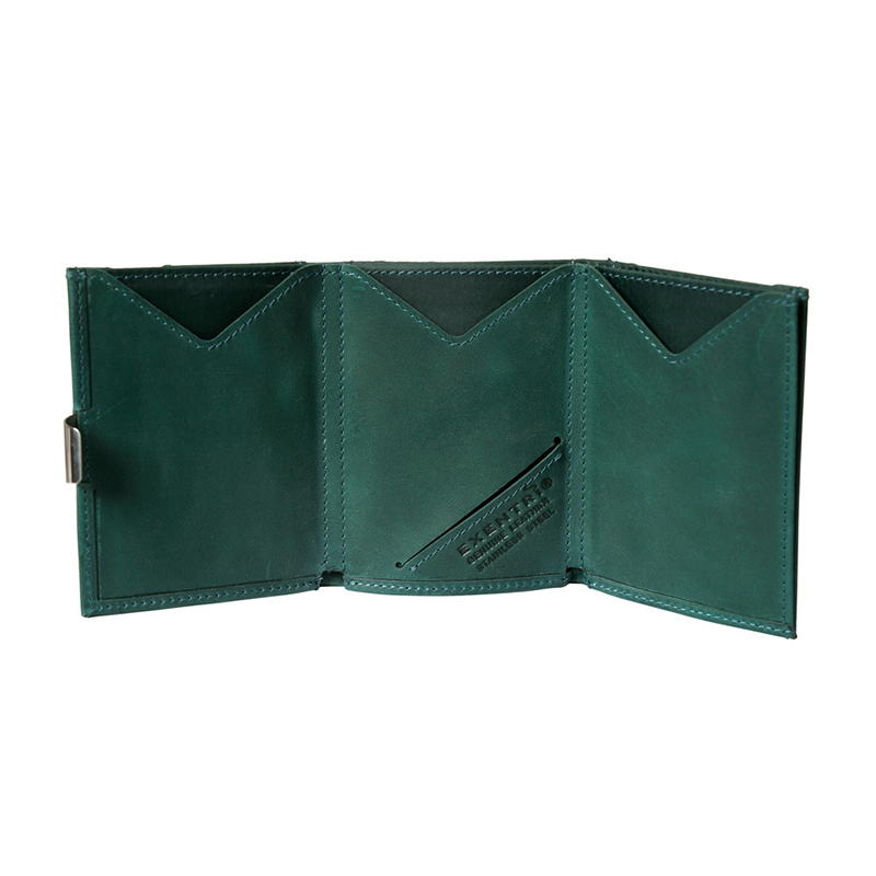Exentri Leather Wallet - Emerald Green - Unfold