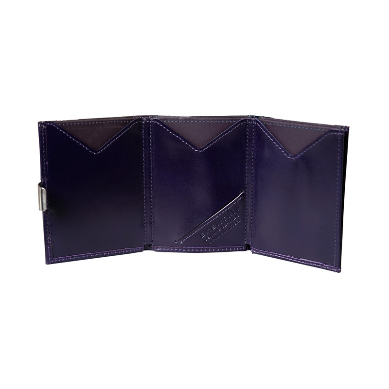 Exentri Leather Wallet - Purple Haze - Unfold