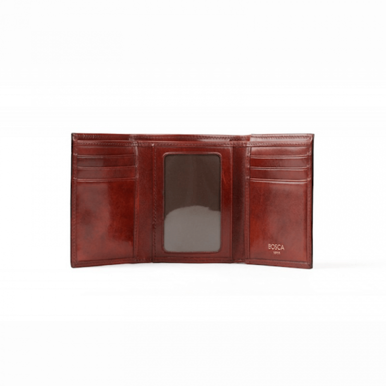 Old Leather Double ID Trifold Wallet
