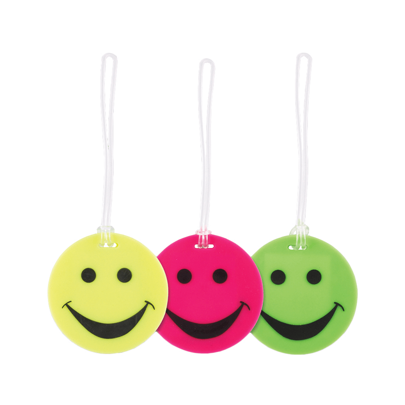 Smiley Face Rubber Luggage Tag