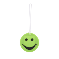 Smiley Face Rubber Tag // Green