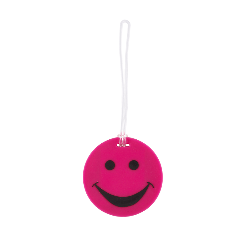 Smiley Face Rubber Tag // Pink