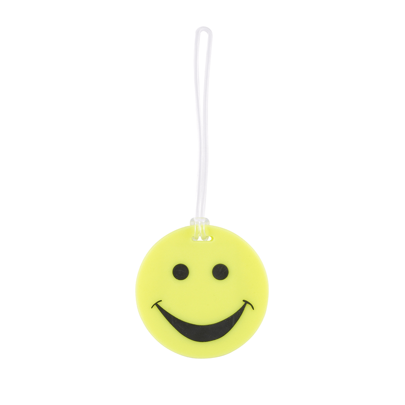 Smiley Face Rubber Tag // Yellow