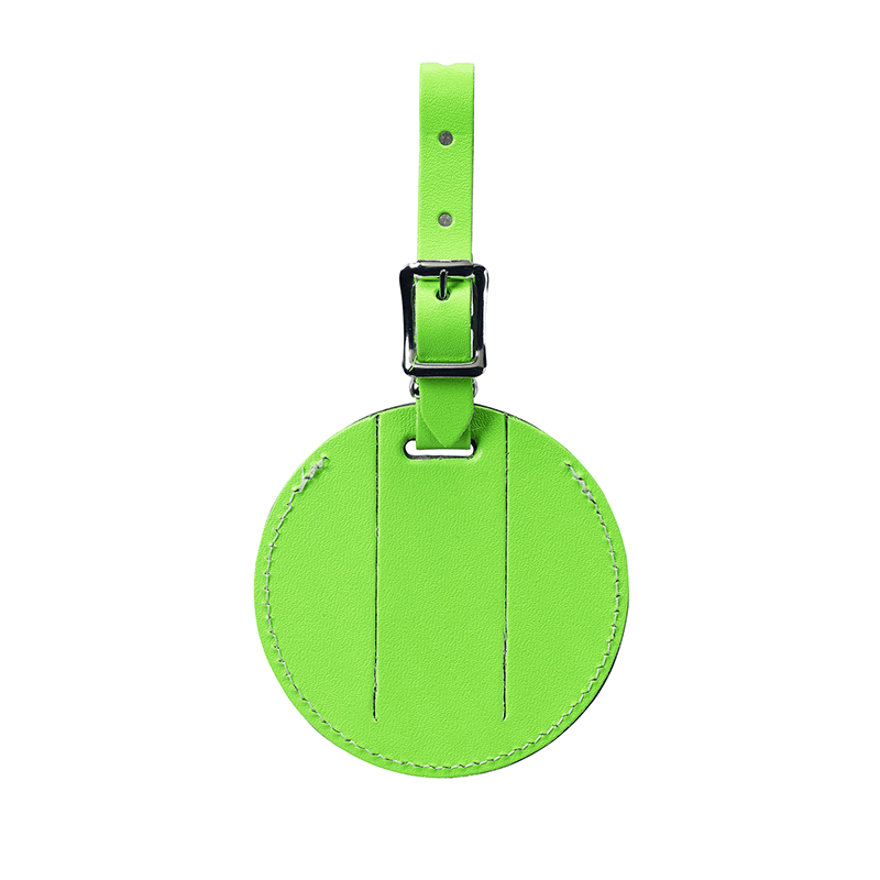 Round Leather Luggage Tag // Green