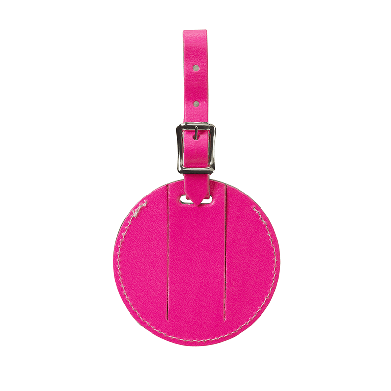 Round Leather Luggage Tag // Pink