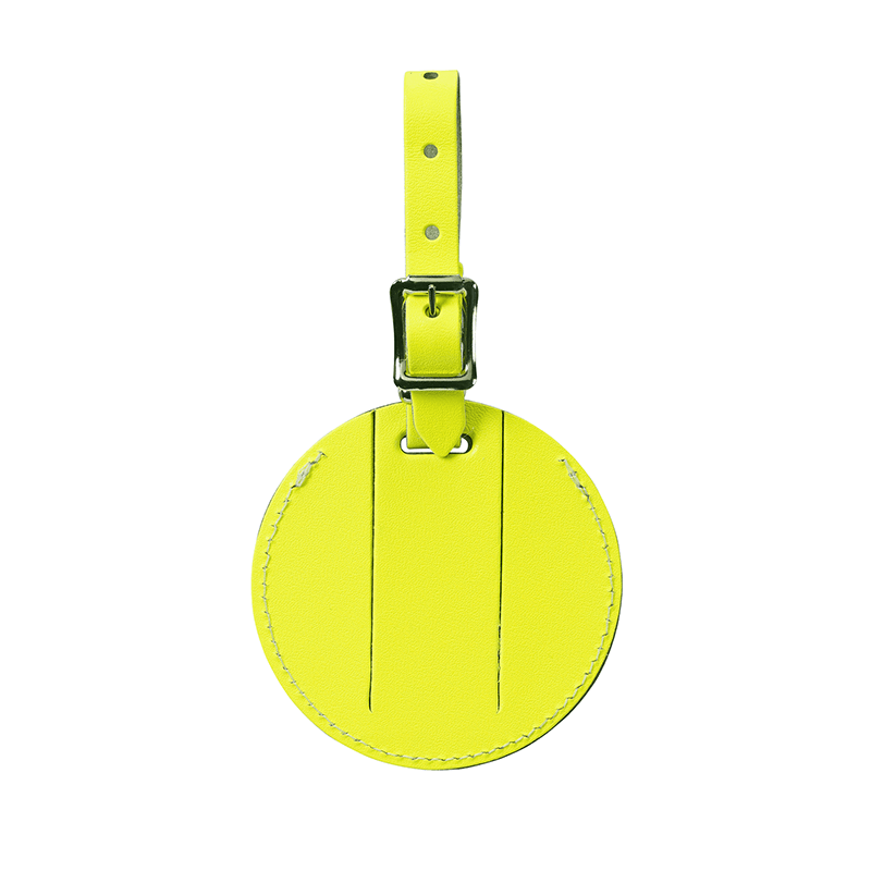 Round Leather Luggage Tag // Yellow